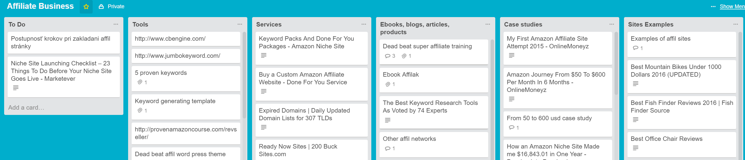 trello amazon affil working board
